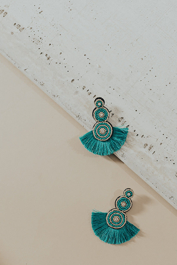 Hopelessly Devoted Earrings In Teal