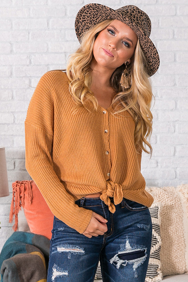 Warm Welcome Knit Top In Camel