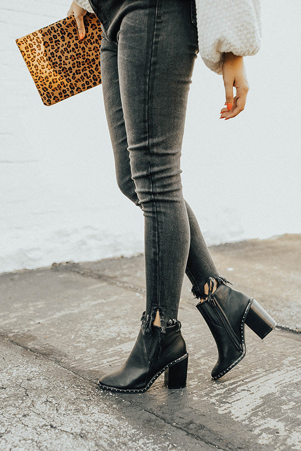 The Tori Faux Leather Bootie in Black