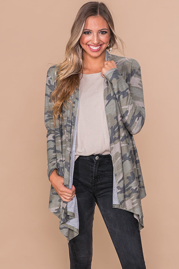 Make Your Move Camo Cardigan