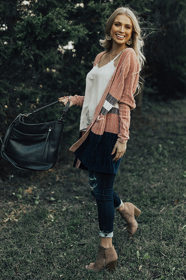 Chilly Sunsets Chenille Cardigan in Blush