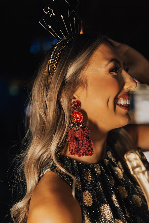 No Strings Attached Tassel Earrings In Wine