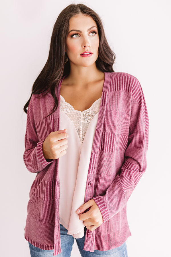 Mulled Wine Divine Cardigan in Sangria