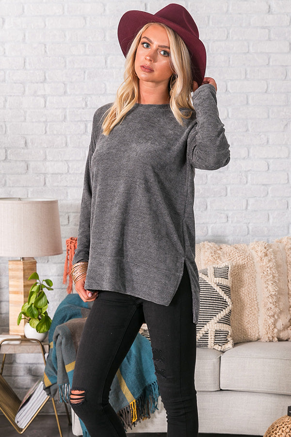 Luxe Comforts Shift Sweater in Charcoal
