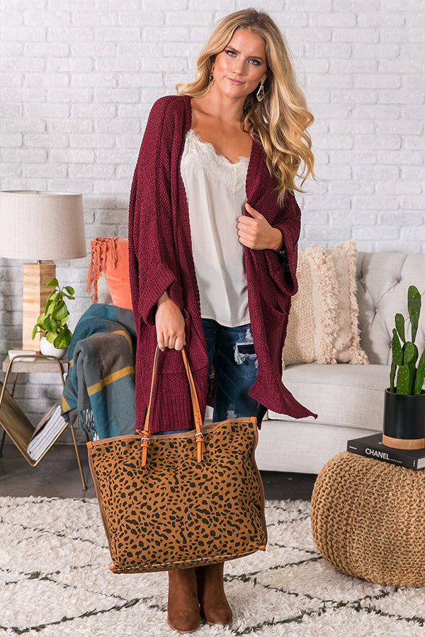 Weekend Out West Knit Cardigan in Merlot