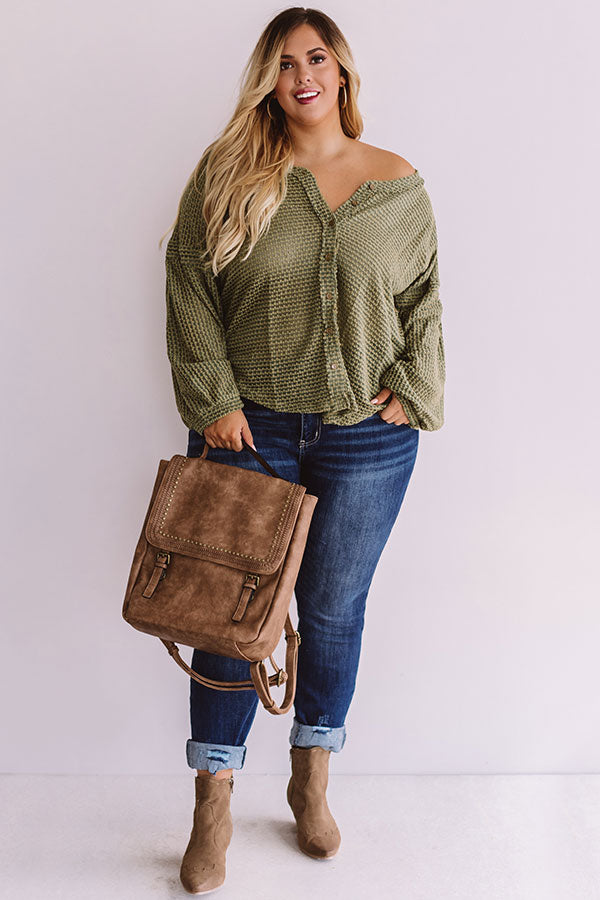 Cappuccinos And Chit Chat Knit Top In Sage