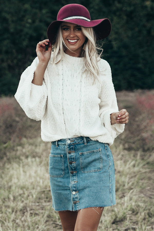 The Jenny Button Down Denim Skirt