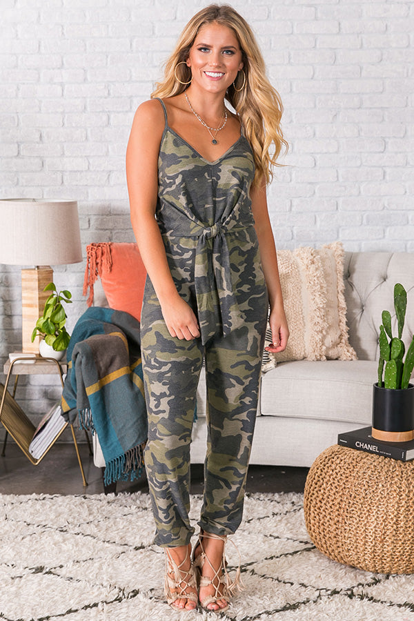 The Jetsetter Front Tie Camo Jumpsuit