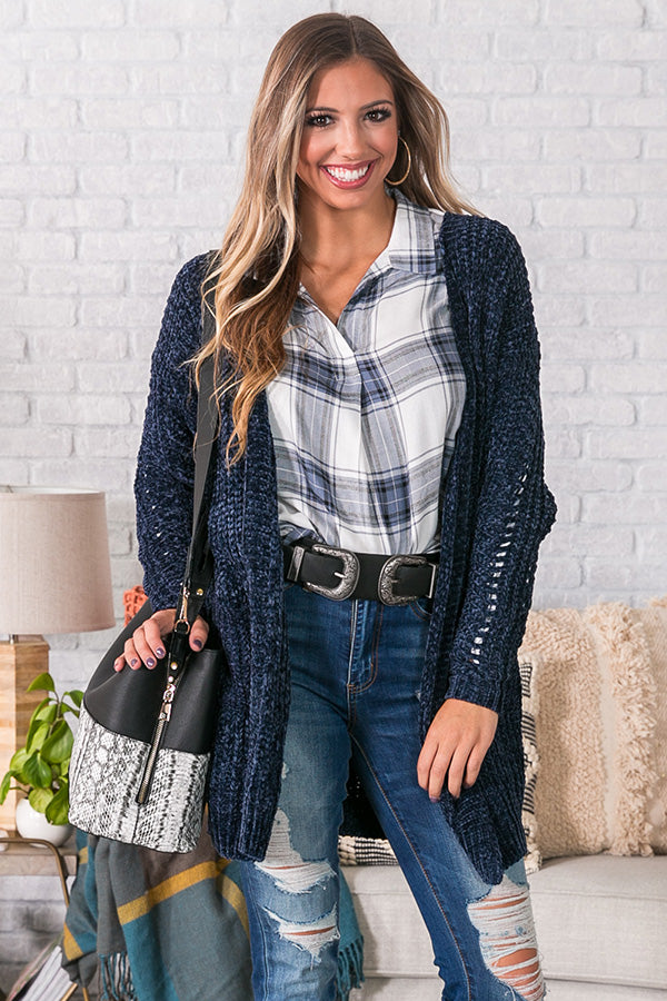 Sunsets And S'mores Nights Chenille Cardigan in Navy