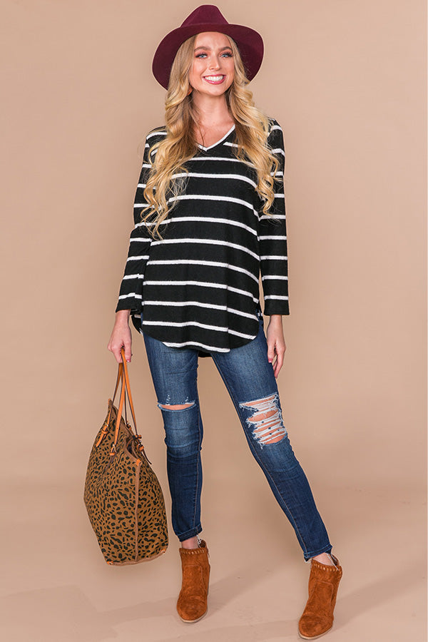 Soft Focus Stripe Top in Black