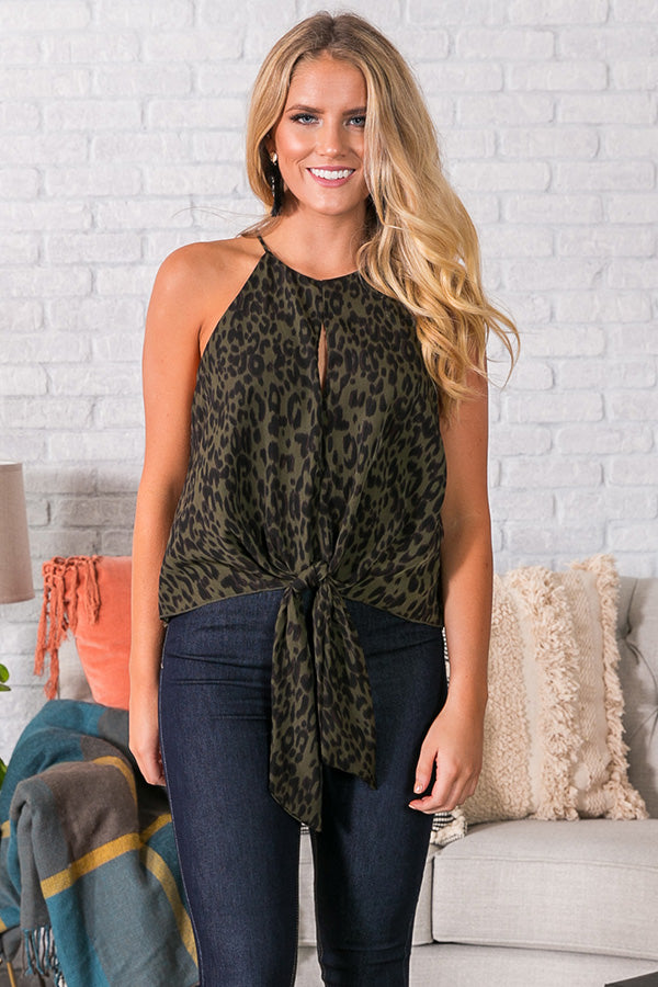 Martini Kisses Leopard Tank in Olive