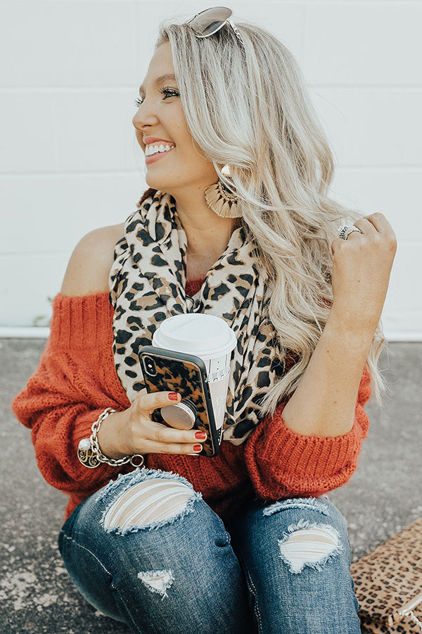 Sunsets And Snuggles Infinity Leopard Scarf