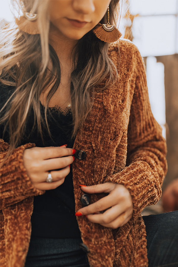 Pretty Cozy Chenille Cardigan in Copper