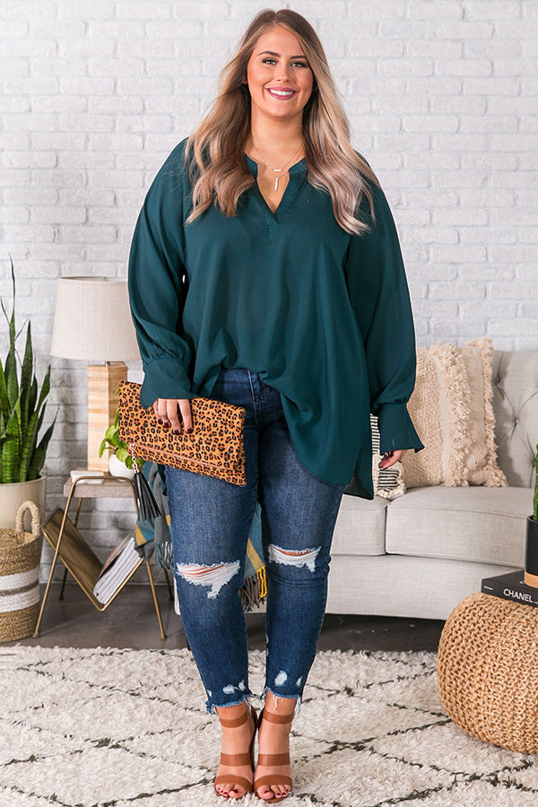 Livin' Luxe Shift Top in Deep Teal