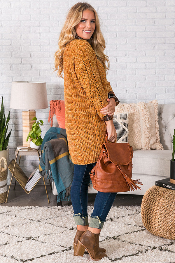 Sunsets And S'mores Nights Chenille Cardigan in Mustard
