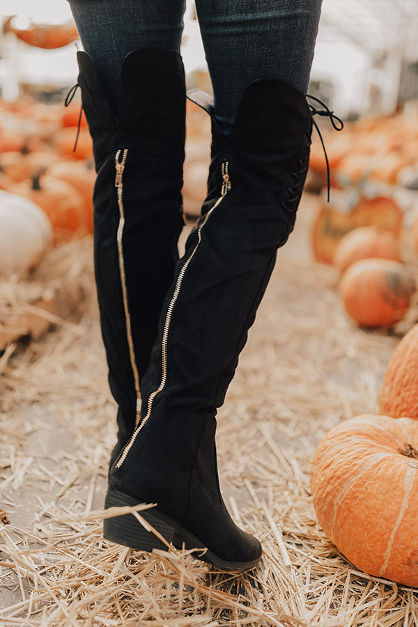 The Clara Over The Knee Faux Suede Boot in Black