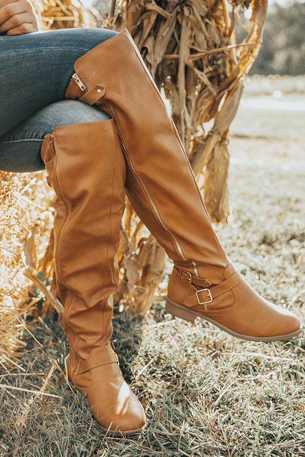 The April Faux Leather Knee High Boot in Maple