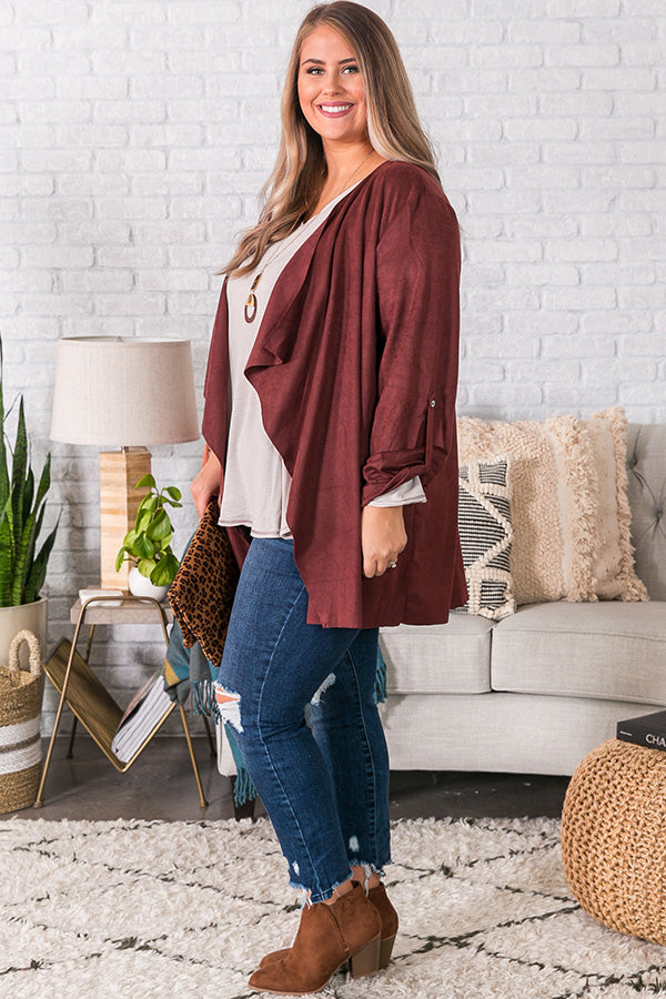 Cappuccino Crushing Faux Suede Jacket in Maroon