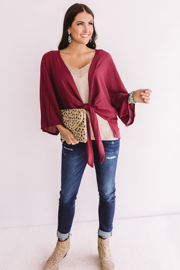 Front And Center Waffle Knit Overlay in Wine
