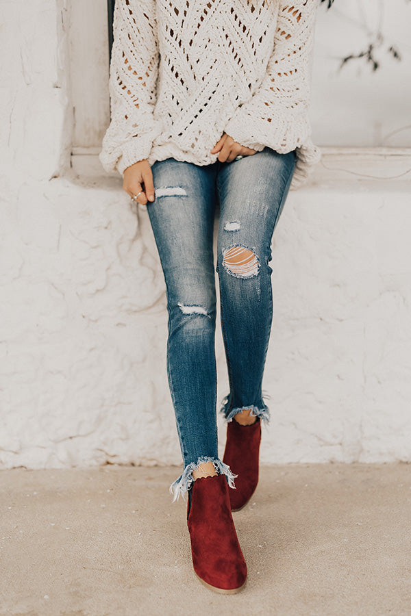 The Landon Faux Suede Bootie in Wine