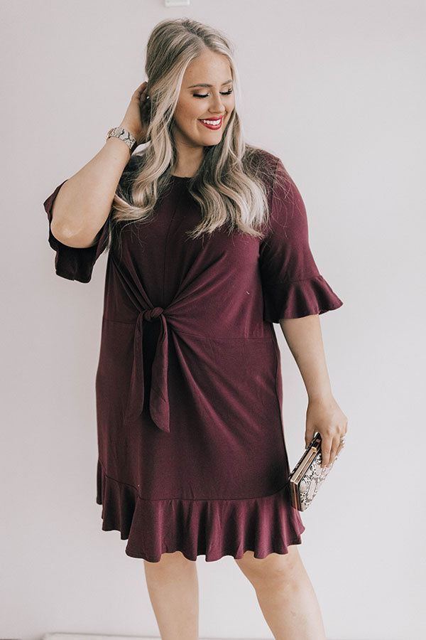Find Me On The Dance Floor Front Tie Dress in Windsor Wine