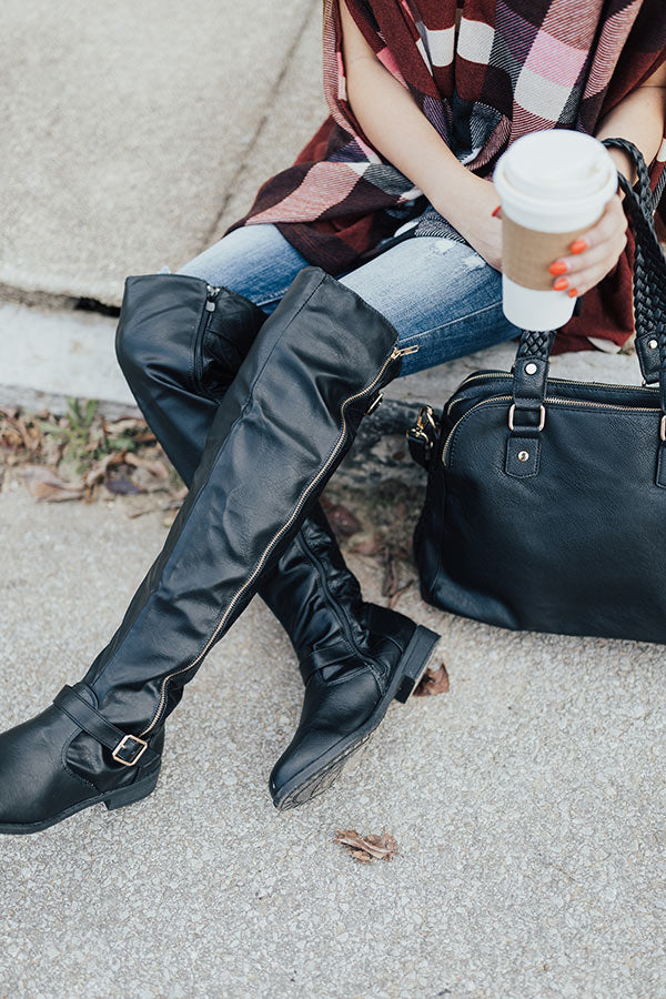 The Angie Faux Leather Knee High Boot in Black