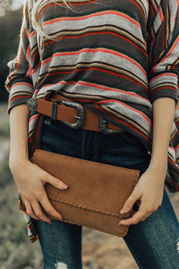 Just Add Cocktails Clutch In Brown