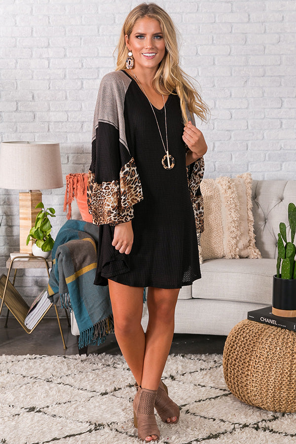 Martinis in Madison Waffle Knit Shift Dress In Black