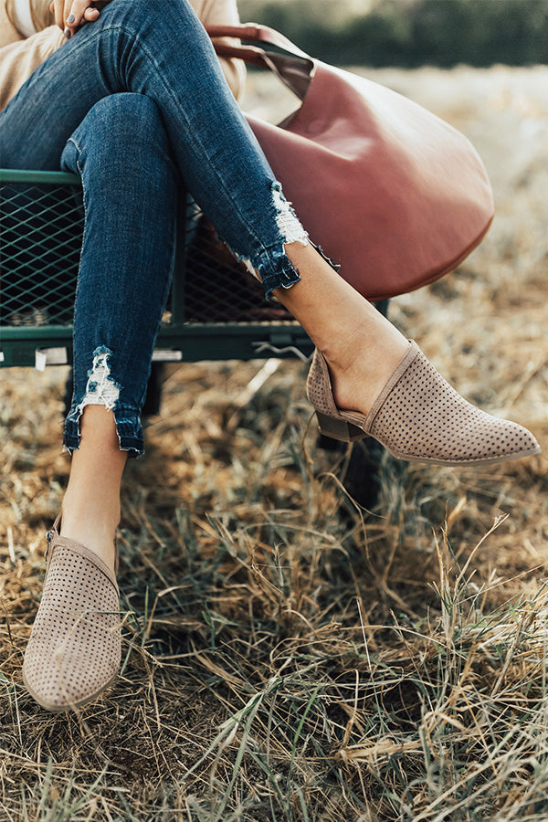 The Sutton Perforated Flat in Taupe