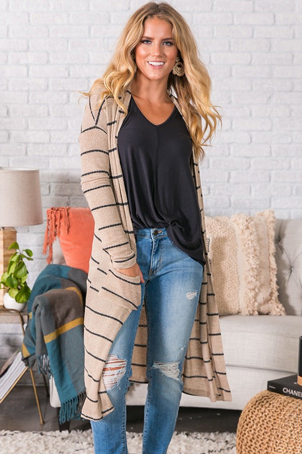 First Class Kisses Stripe Cardigan in Warm Taupe