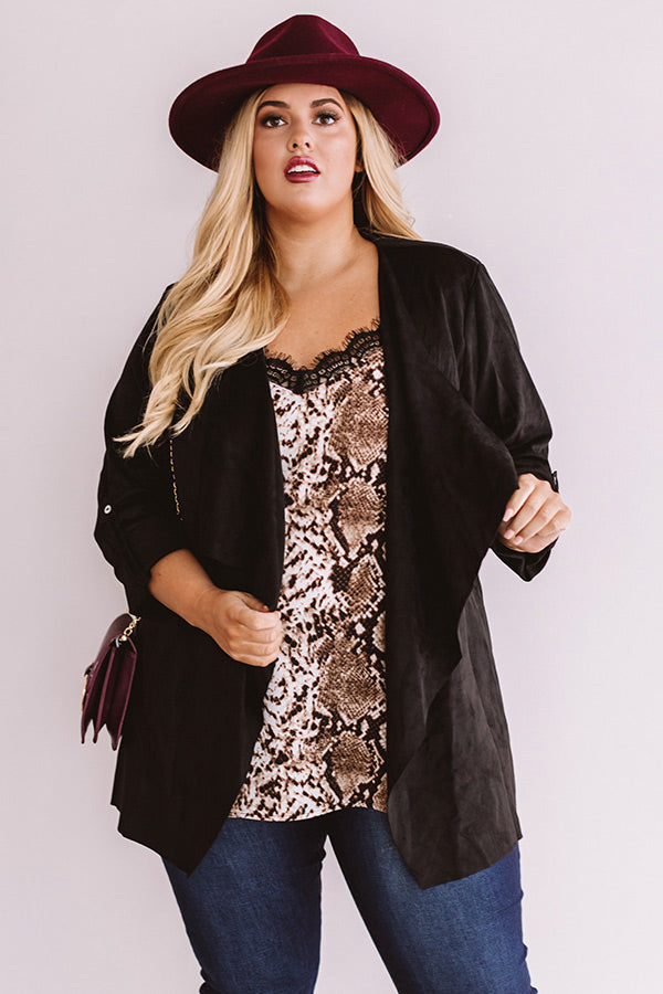 Cappuccino Crushing Faux Suede Jacket In Black