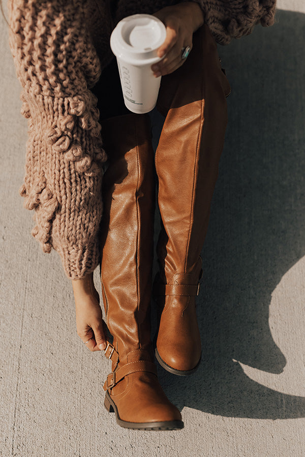 The Angie Faux Leather Knee High Boot in Brown