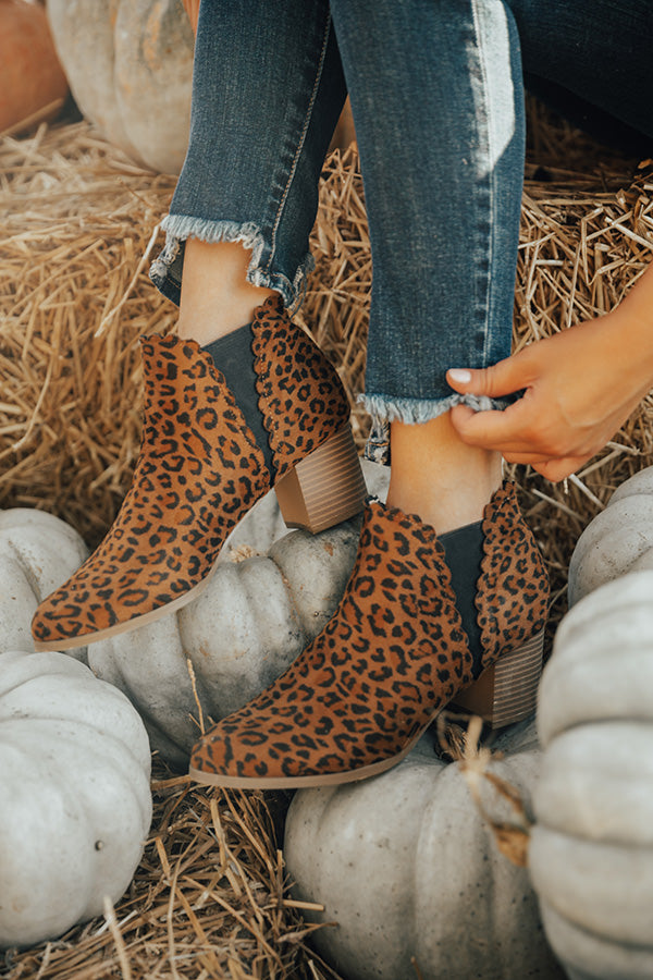 The Landon Faux Suede Leopard Bootie