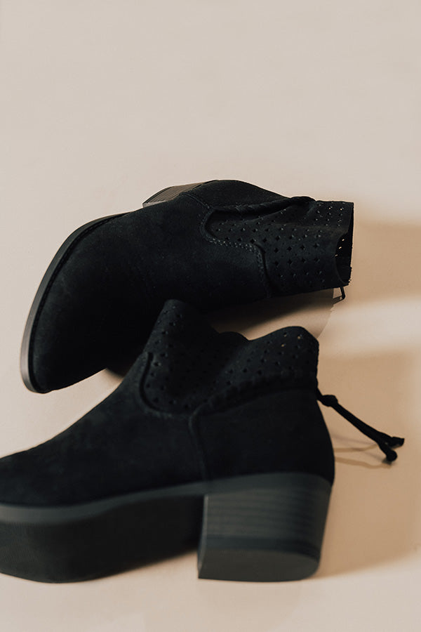 The Ellis Faux Suede Bootie In Black