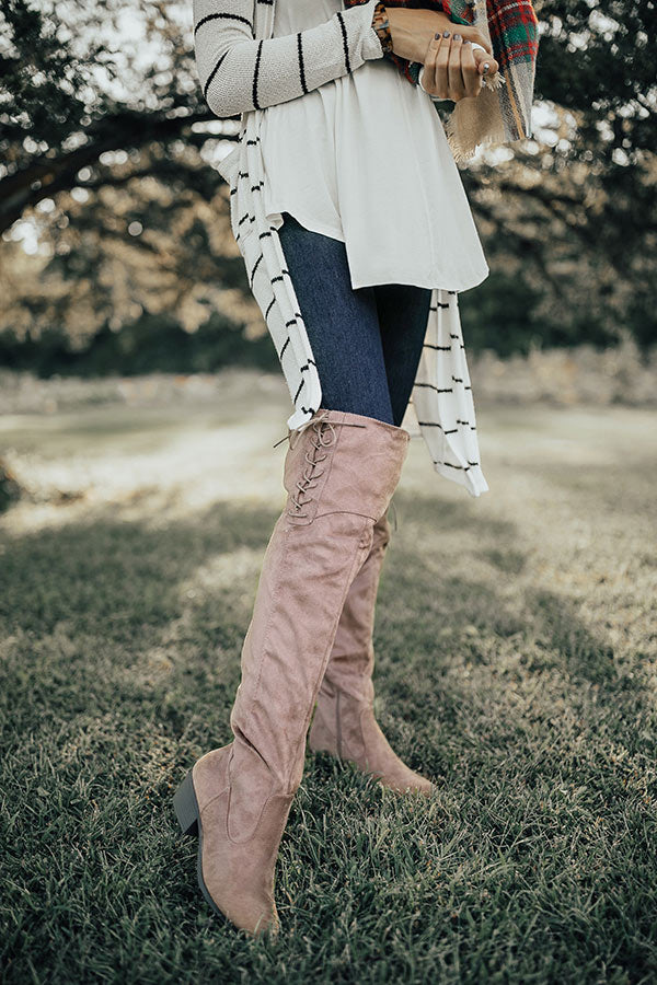 The Clara Over The Knee Faux Suede Boot in Taupe