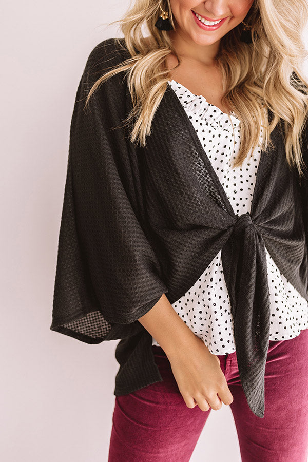 Front And Center Waffle Knit Overlay in Black