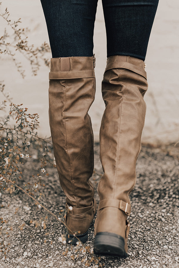 The April Faux Leather Knee High Boot in Taupe