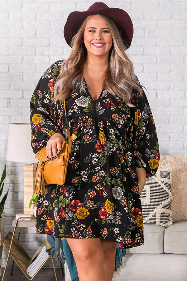 Harvest Happiness Floral Shift Dress In Black