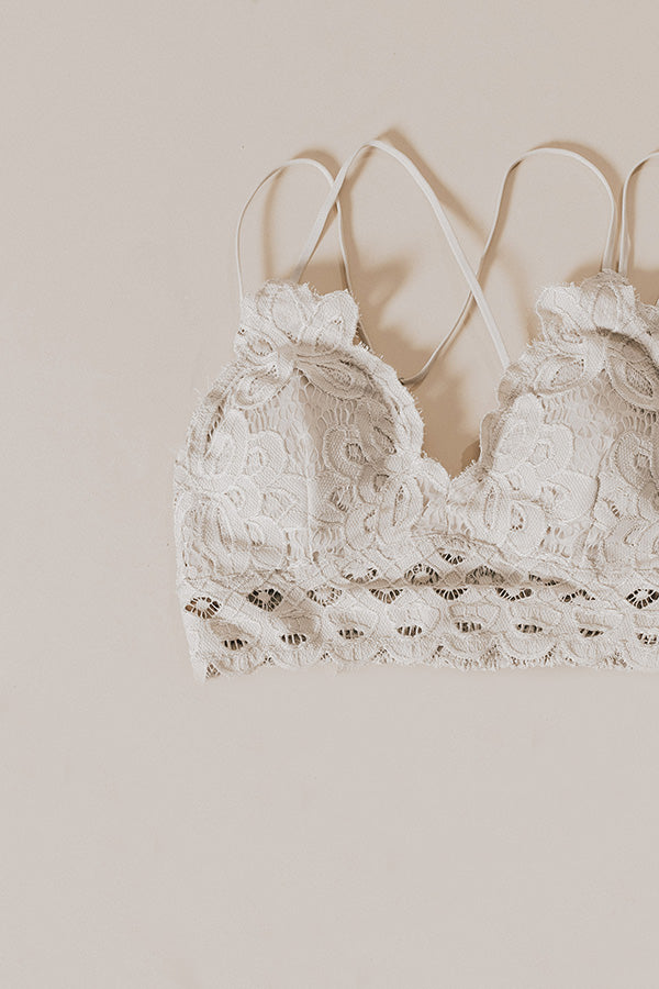 Wishes And Kisses Lace Bralette in Birch
