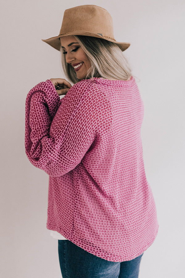 Cappuccinos And Chit Chat Knit Top In Pink