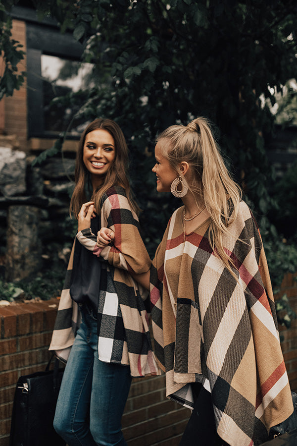 Toasting In Tahoe Plaid Poncho In Khaki