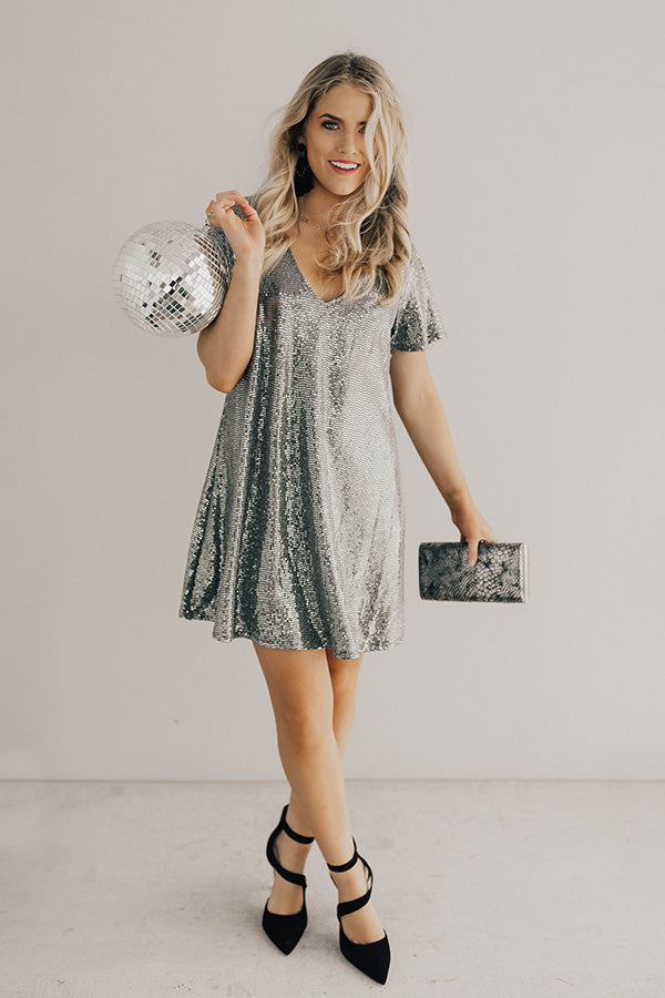 454830ffb8e3 Stunningly Chic Shift Dress In Silver • Impressions Online Boutique