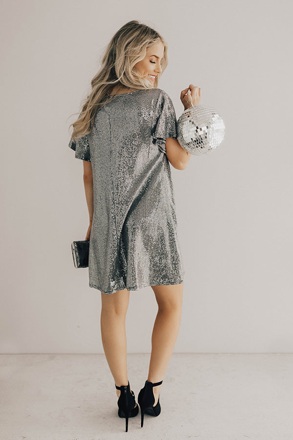 Stunningly Chic Shift Dress In Silver