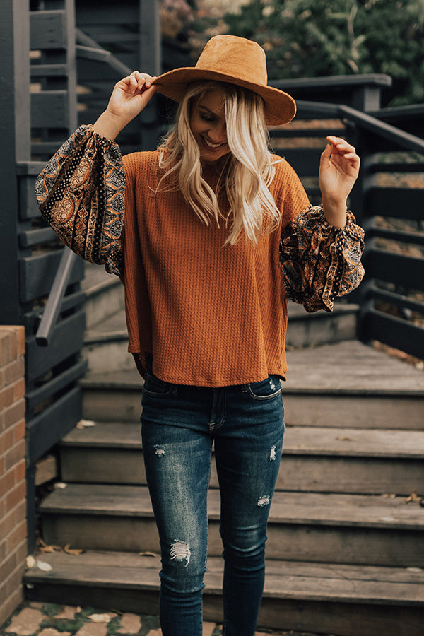Caramel Apple Kisses Waffle Knit Top