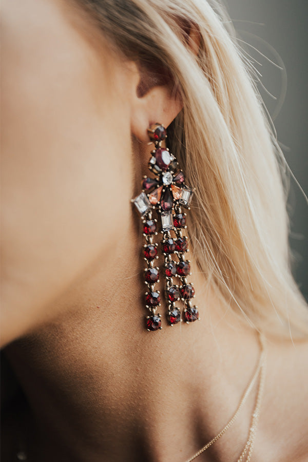 Pop The Baubles Earrings in Sangria