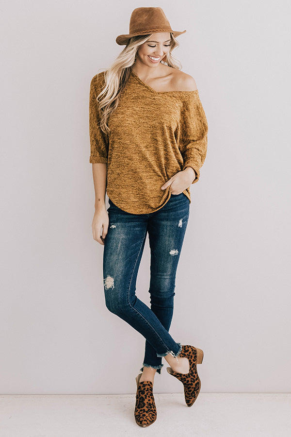 Calls For Cocoa Shift Top In Mustard