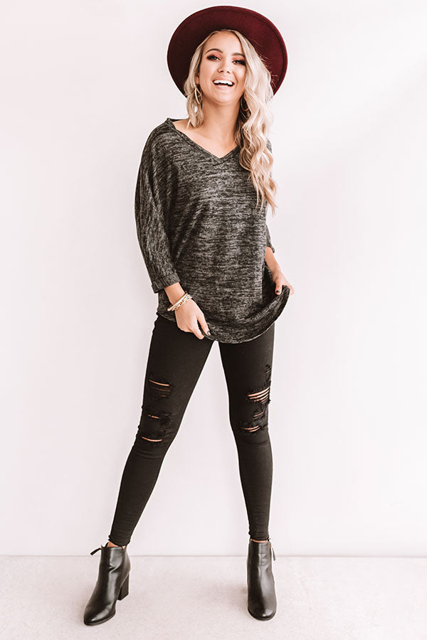 Calls For Cocoa Shift Top In Charcoal