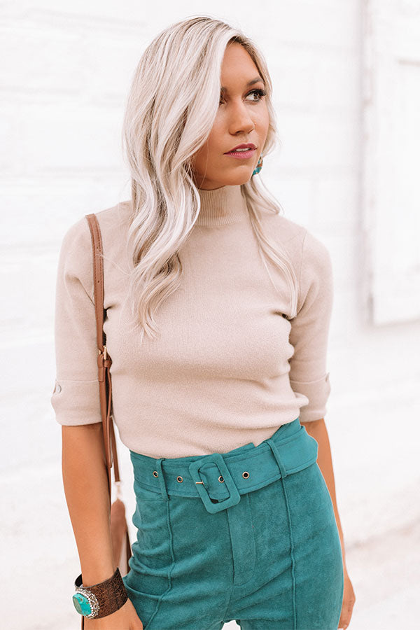 Soho Polished Sweater Top in Iced Latte