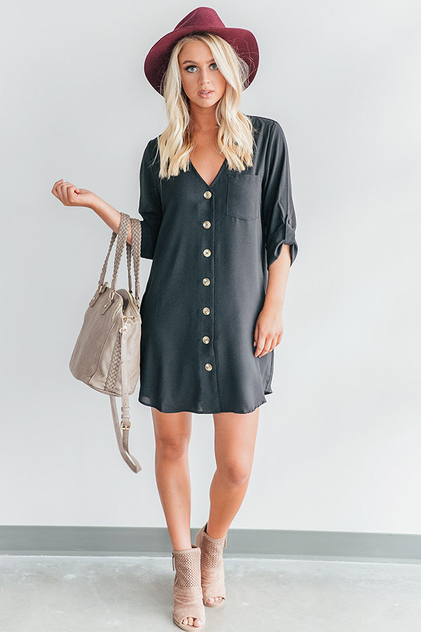 The Happiest Hour Shift Dress In Black