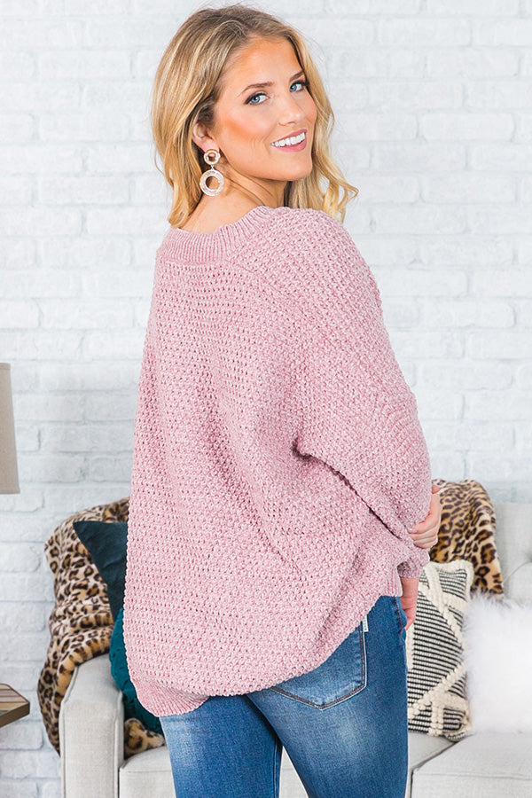 Swoon And Snuggles Chenille Shift Sweater In Blush Impressions